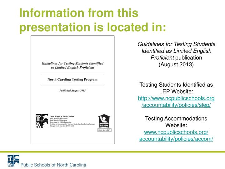 Information from this presentation is located in