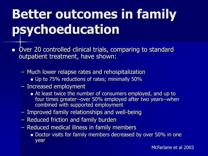 Better outcomes in family psychoeducation