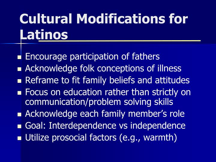 Cultural Modifications for Latinos