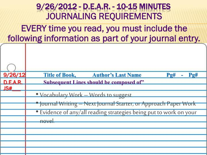 JOURNALING REQUIREMENTS