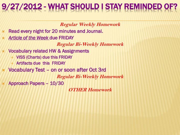 Regular Weekly Homework