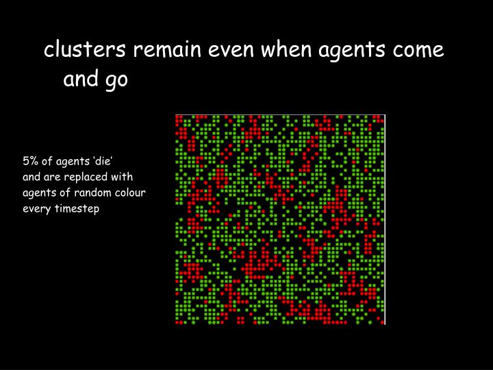 clusters remain even when agents come and go