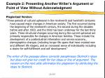 example 2 presenting another writer s argument or point of view without acknowledgment2