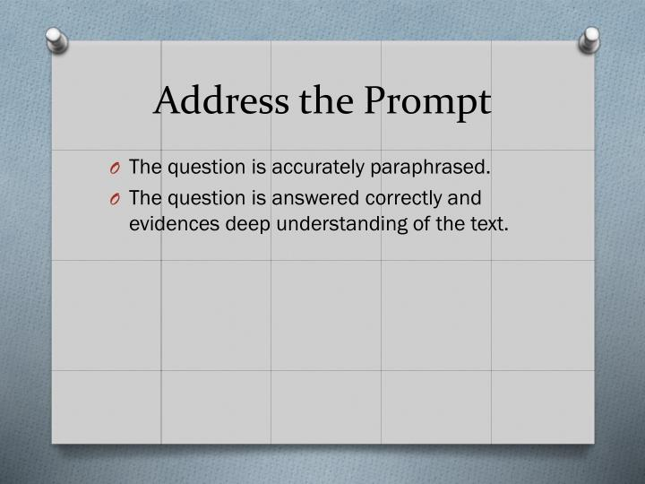 Address the prompt