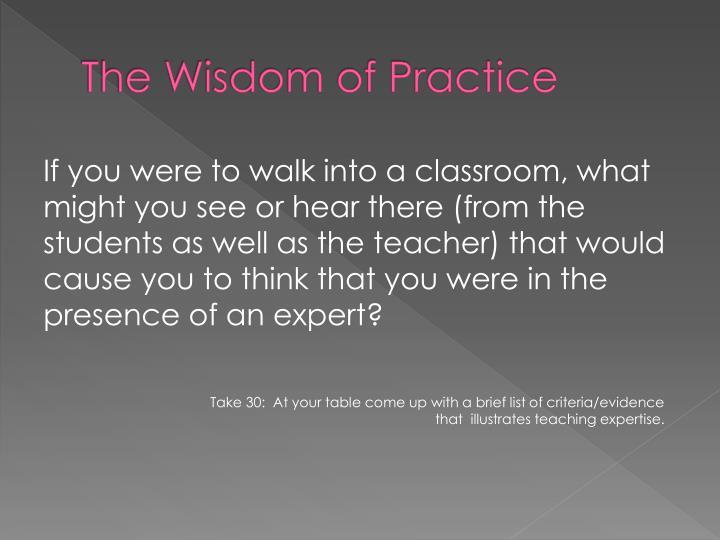 The Wisdom of Practice