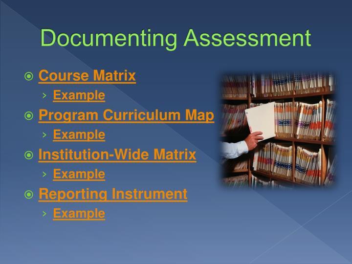 Documenting Assessment