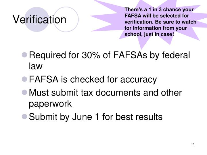 There's a 1 in 3 chance your FAFSA will be selected for verification. Be sure to watch for information from your school, just in case!
