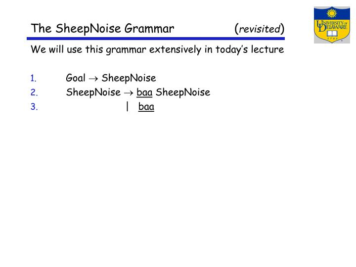 The SheepNoise Grammar                 (