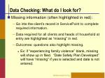 data checking what do i look for