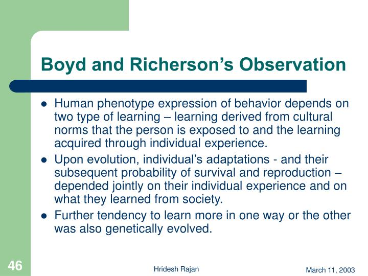 Boyd and Richerson's Observation
