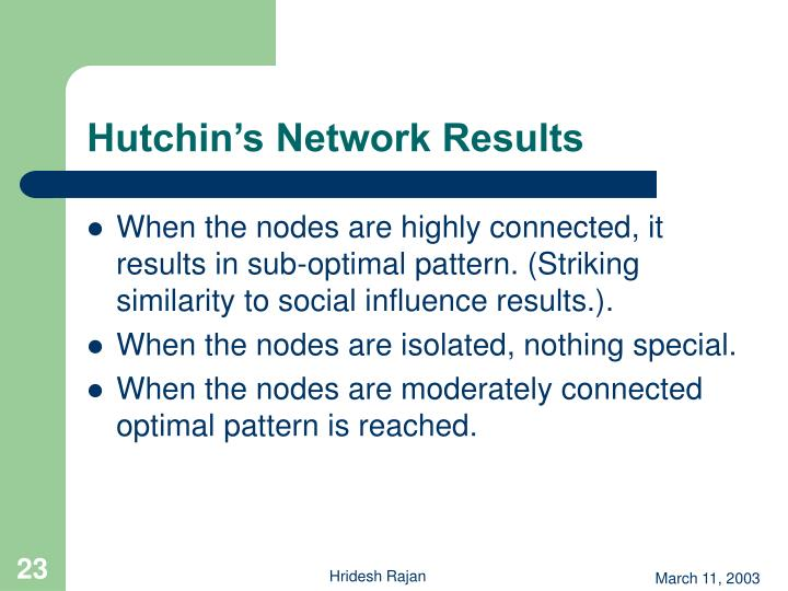 Hutchin's Network Results