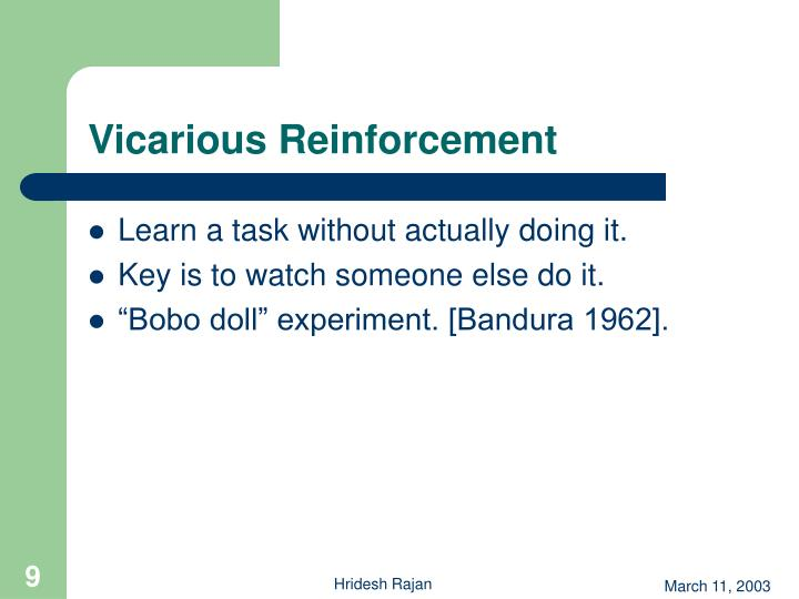 Vicarious Reinforcement