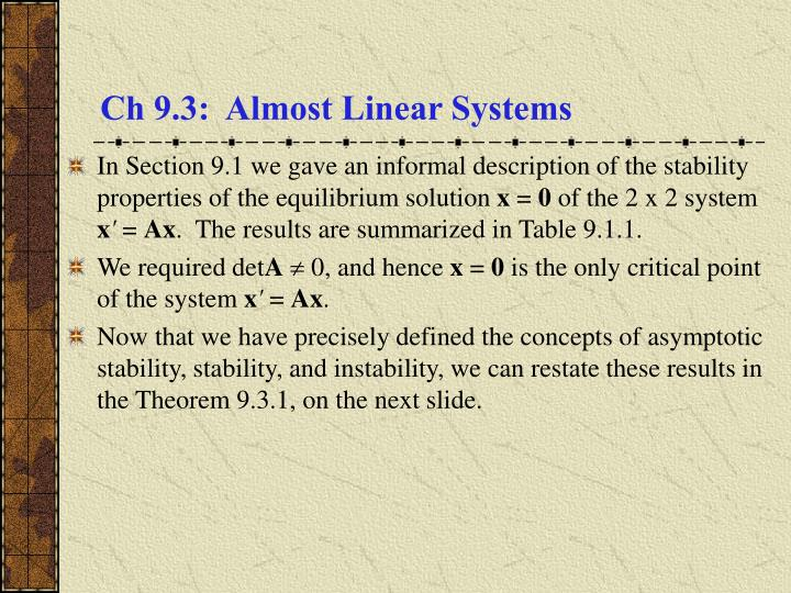 Ch 9 3 almost linear systems
