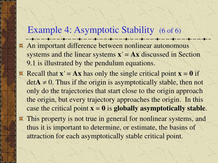 Example 4: Asymptotic Stability