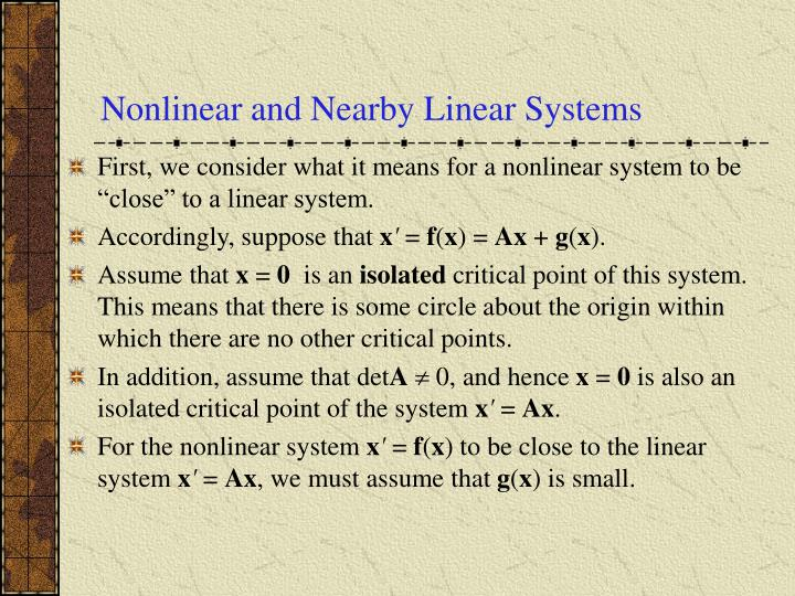Nonlinear and Nearby Linear Systems