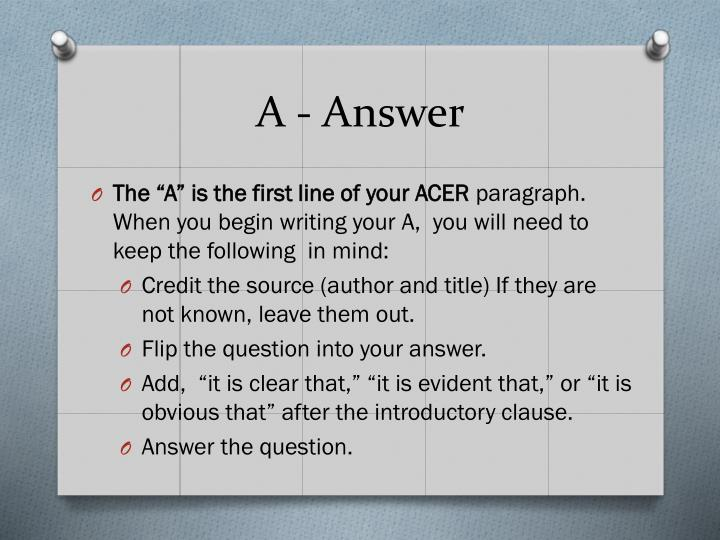 A - Answer