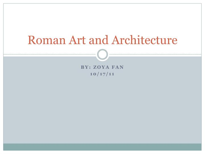 roman art and architecture n.