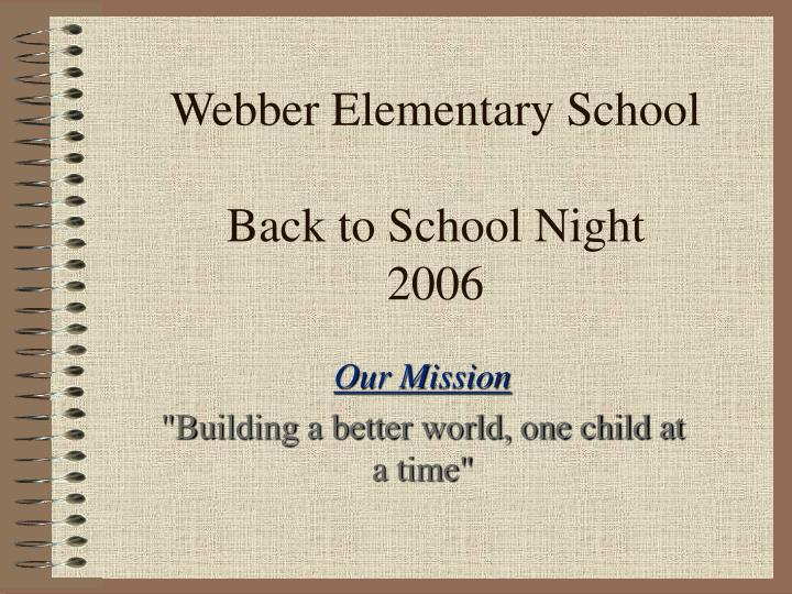 Webber elementary school back to school night 2006