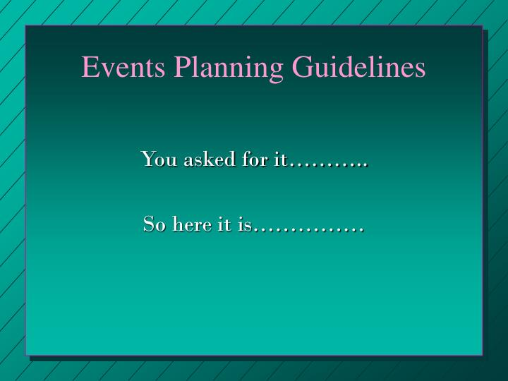 Events Planning Guidelines