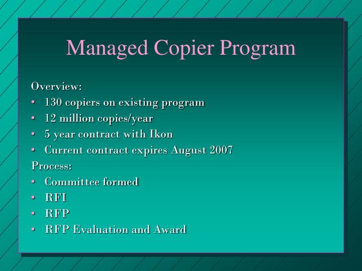 Managed Copier Program