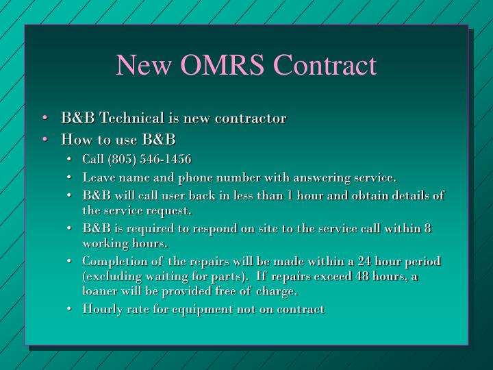 New OMRS Contract