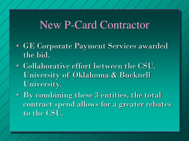 New P-Card Contractor