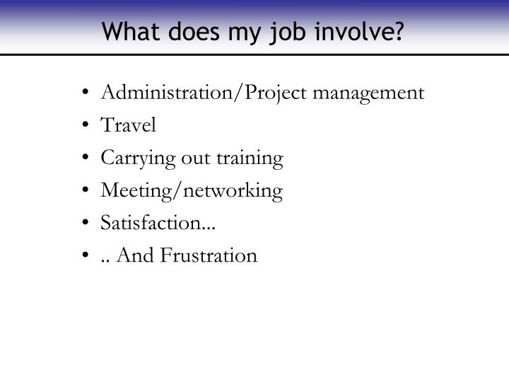 What does my job involve?