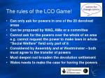 the rules of the lco game