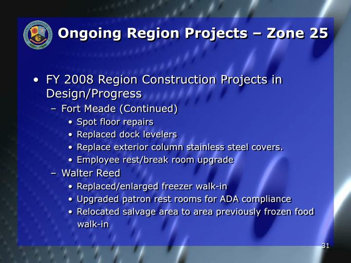 Ongoing Region Projects – Zone 25