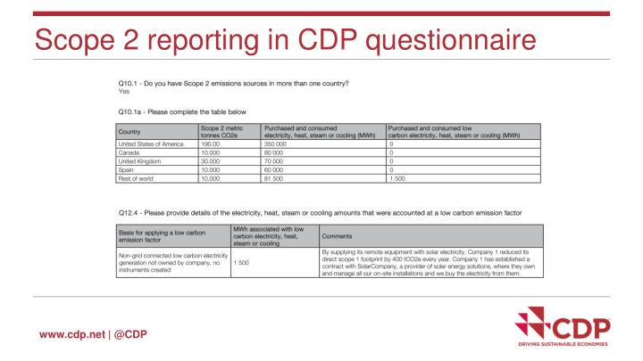 Scope 2 reporting in CDP questionnaire