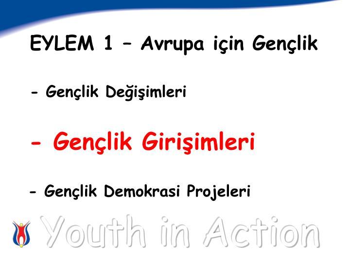 EYLEM 1 – Avrupa için Gençlik