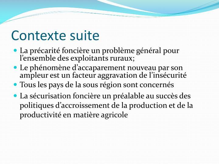 Contexte suite