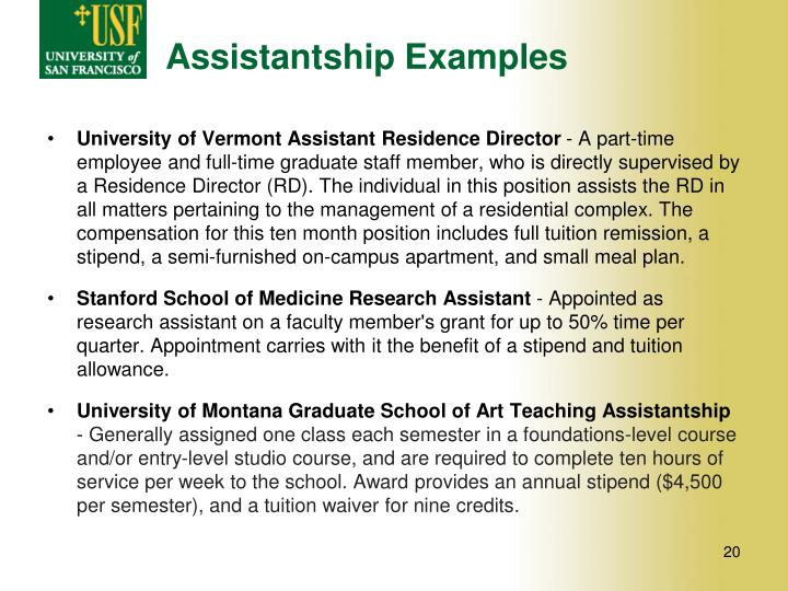 Assistantship Examples