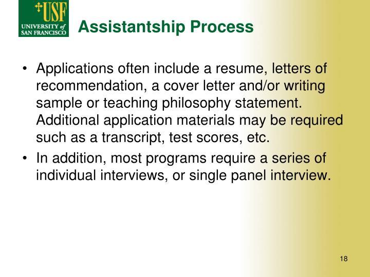 Assistantship Process