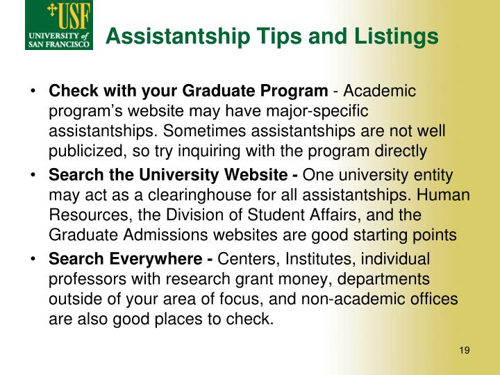Assistantship Tips and Listings