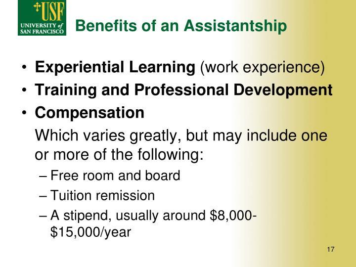 Benefits of an Assistantship