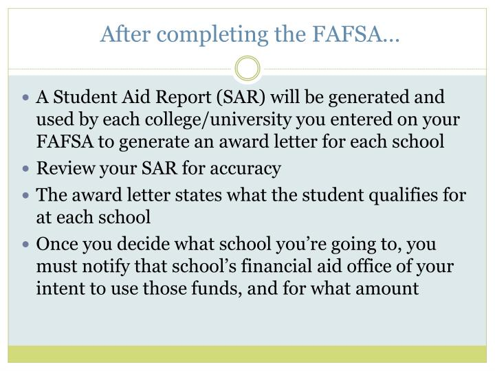 After completing the FAFSA…