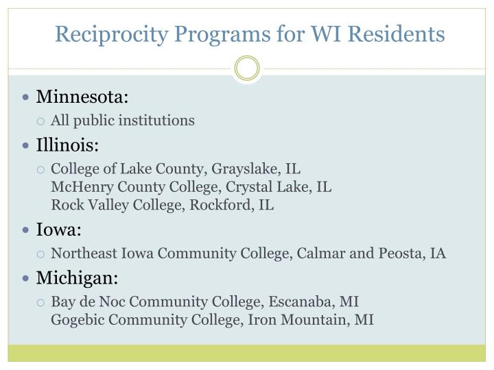 Reciprocity Programs for WI Residents