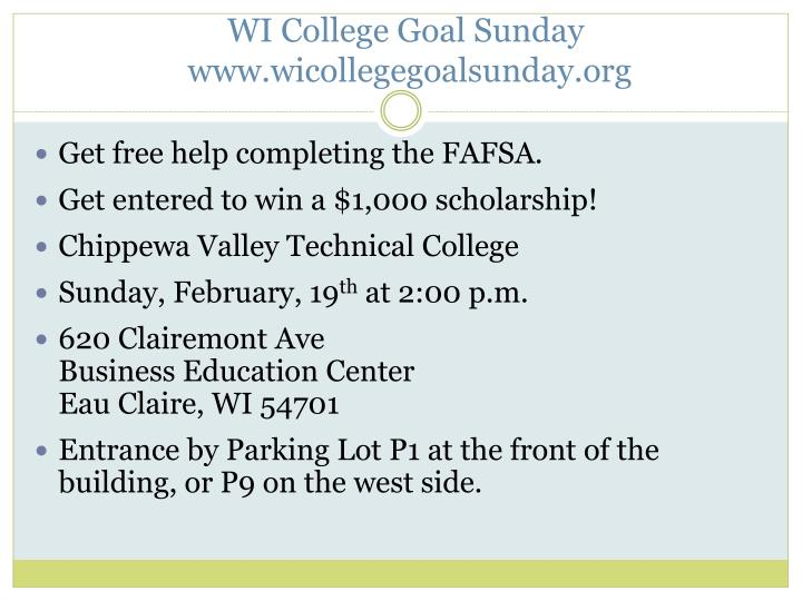 WI College Goal Sunday