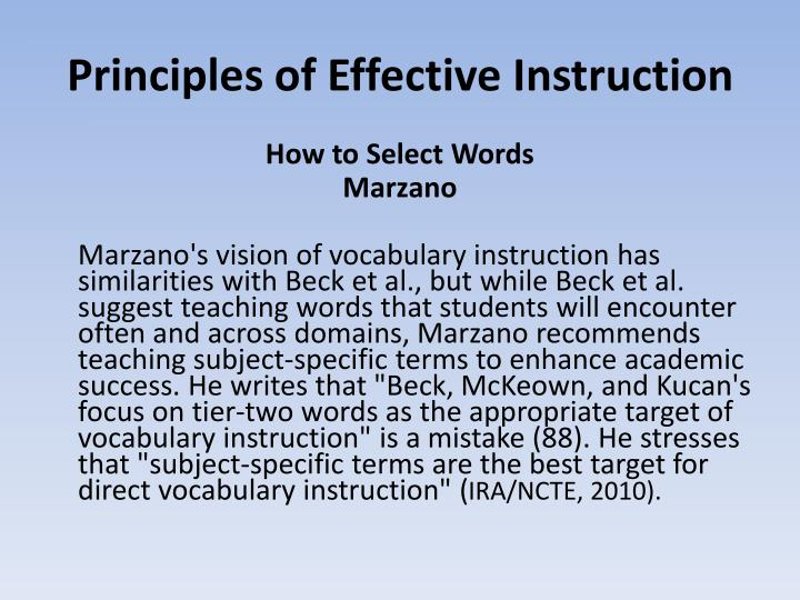 Principles of Effective Instruction