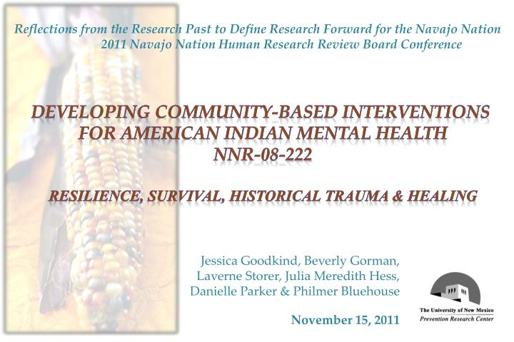 Reflections from the Research Past to Define Research Forward for the Navajo Nation