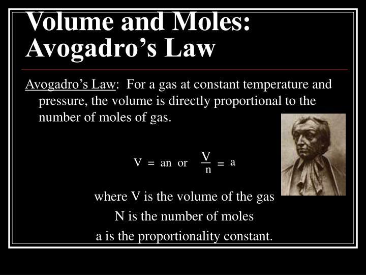 Volume and Moles: