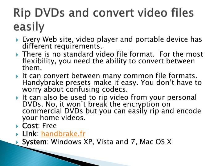 Rip DVDs and convert video files easily
