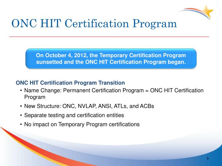 Onc hit certification program