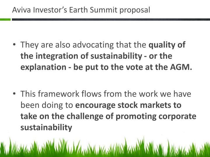 Aviva Investor's Earth Summit proposal