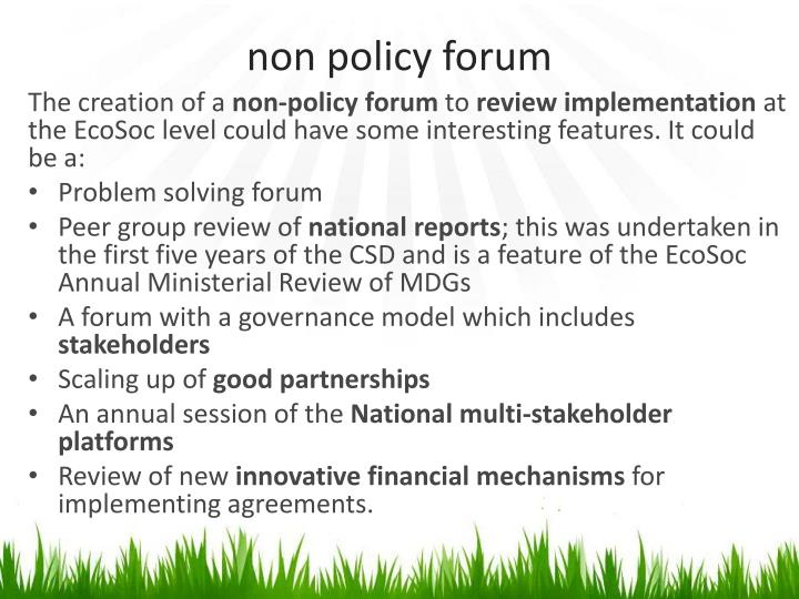 non policy forum