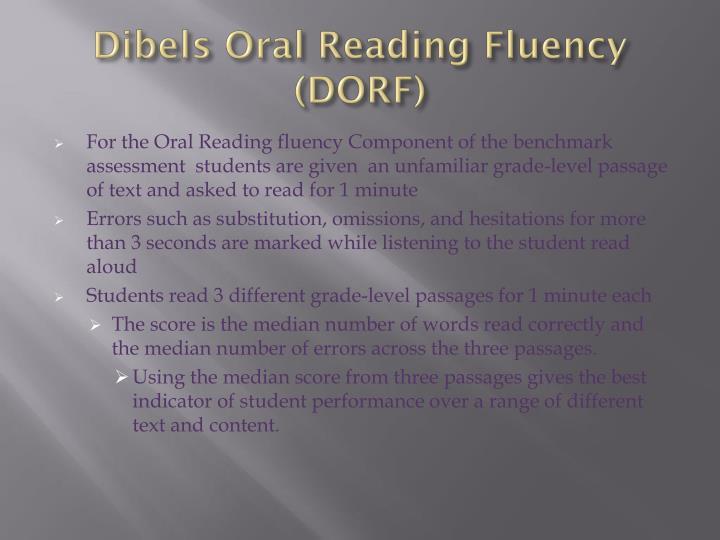 Dibels oral reading fluency dorf