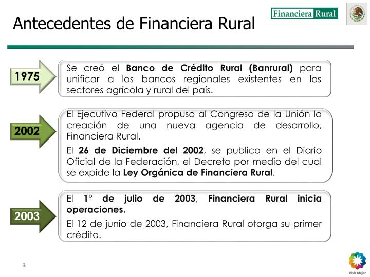 Antecedentes de Financiera Rural