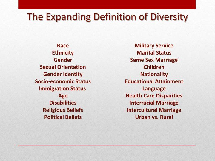 The Expanding Definition of Diversity