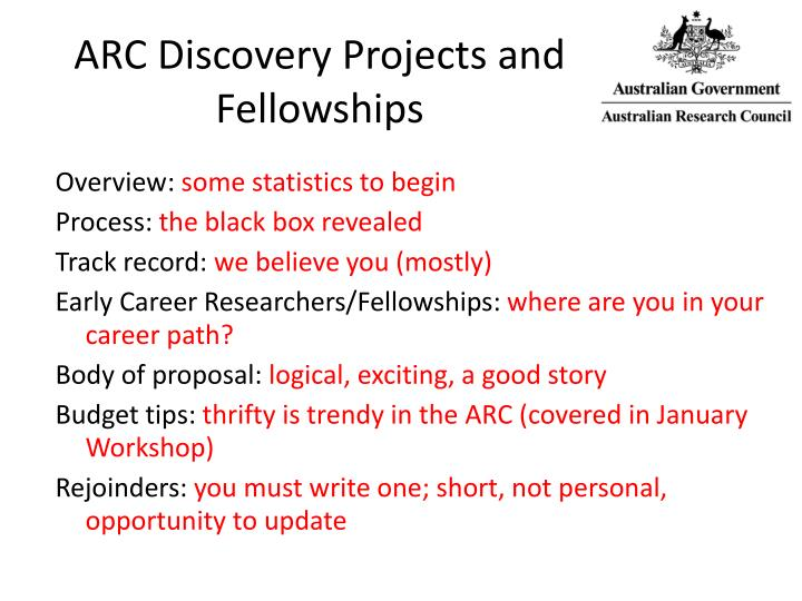 Arc discovery projects and fellowships
